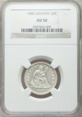 Seated Quarters, 1840 25C Drapery AU50 NGC. NGC Census: (3/24). PCGS Population(5/26). Mintage: 188,127. Numismedia Wsl. Price for problem ...