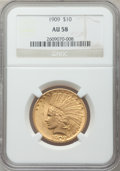 Indian Eagles: , 1909 $10 AU58 NGC. NGC Census: (418/1457). PCGS Population(412/1273). Mintage: 184,700. Numismedia Wsl. Price for problem ...