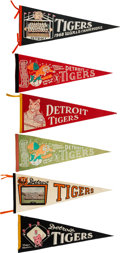 Baseball Collectibles:Others, 1960's Collection of Detroit Tigers Pennants - Lot of 6. ...