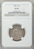 Seated Quarters: , 1889 25C XF45 NGC. NGC Census: (2/163). PCGS Population (2/189).Mintage: 12,000. Numismedia Wsl. Price for problem free NG...