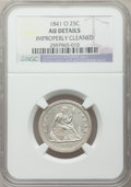 Seated Quarters: , 1841-O 25C -- Improperly Cleaned -- NGC Details. AU. NGC Census:(2/49). PCGS Population (3/61). Mintage: 452,000. Numismed...