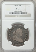 Early Half Dollars: , 1805 50C Fine 12 NGC. NGC Census: (15/307). PCGS Population(30/391). Mintage: 211,722. Numismedia Wsl. Price for problem f...