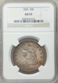 Bust Half Dollars: , 1833 50C AU53 NGC. NGC Census: (103/866). PCGS Population(118/759). Mintage: 5,206,000. Numismedia Wsl. Price for problem...