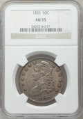 Bust Half Dollars: , 1835 50C AU55 NGC. NGC Census: (111/400). PCGS Population(130/259). Mintage: 5,352,006. Numismedia Wsl. Price for problem...