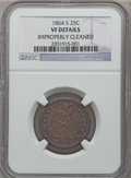 Seated Quarters: , 1864-S 25C -- Improperly Cleaned -- NGC Details. VF. NGC Census:(1/25). PCGS Population (2/27). Mintage: 20,000. Numismedi...