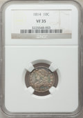 Bust Dimes: , 1814 10C Large Date VF35 NGC. NGC Census: (4/146). PCGS Population(9/116). Mintage: 421,500. Numismedia Wsl. Price for pro...