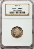 Proof Liberty Nickels: , 1909 5C PR66 Cameo NGC. NGC Census: (46/28). PCGS Population (61/16). . From The Strawberry Fields Collection....