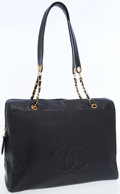Luxury Accessories:Bags, Chanel Black Caviar Oversize Tote Bag with CC Logo. ...