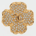 Luxury Accessories:Accessories, Chanel Gold Shamrock Brooch with CC Logo and Crystals. ...
