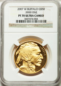 Modern Bullion Coins, 2007-W G$50 One-Ounce Gold Buffalo PR70 Ultra Cameo NGC. NGCCensus: (3235). PCGS Population (702). Numismedia Wsl. Price ...