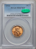 Lincoln Cents: , 1944 1C MS67 Red PCGS. CAC. PCGS Population (212/0). NGC Census: (457/0). Mintage: 1,435,399,936. Numismedia Wsl. Price for...