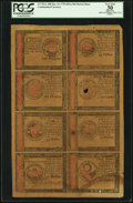 Colonial Notes:Continental Congress Issues, Continental Currency January 14, 1779 $30, $35, $40, $45, $50, $55,$60 and $65 Counterfeit Detector Sheet PCGS Apparent Very ...
