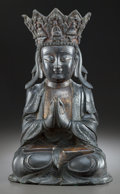 Paintings, A MING DYNASTY BRONZE AND POLYCHROMED SEATED BUDDHA . Chinese. 21-3/4 inches high (55.2 cm). ...