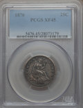 Seated Quarters: , 1870 25C XF45 PCGS. PCGS Population (11/38). NGC Census: (1/22).Mintage: 86,400. Numismedia Wsl. Price for problem free NG...