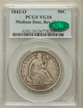 Seated Half Dollars: , 1842-O 50C Medium Date, Large Letters VG10 PCGS. CAC. PCGSPopulation (1/75). NGC Census: (0/53). Mintage: 754,000. Numisme...