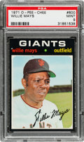 Baseball Cards:Singles (1970-Now), 1971 O-Pee-Chee Willie Mays #600 PSA Mint 9 - Pop Two, None Higher!...
