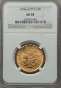 Indian Eagles: , 1908 $10 Motto AU58 NGC. NGC Census: (682/3484). PCGS Population(662/3002). Mintage: 341,300. Numismedia Wsl. Price for pr...