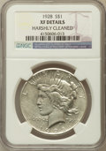Peace Dollars, 1928 $1 -- Harshly Cleaned -- NGC Details. XF. NGC Census:(55/6084). PCGS Population (104/8050). Mintage: 360,649. Num...