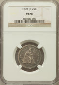 Seated Quarters: , 1878-CC 25C VF20 NGC. NGC Census: (1/229). PCGS Population (8/285).Mintage: 996,000. Numismedia Wsl. Price for problem fre...