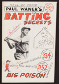 "Baseball Collectibles:Publications, Paul Waner Signed ""Batting Secrets"" Booklet - Signed Twice. ..."