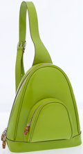 Luxury Accessories:Bags, Gucci Lime Green Leather Backpack with Silver & BambooHardware. ...