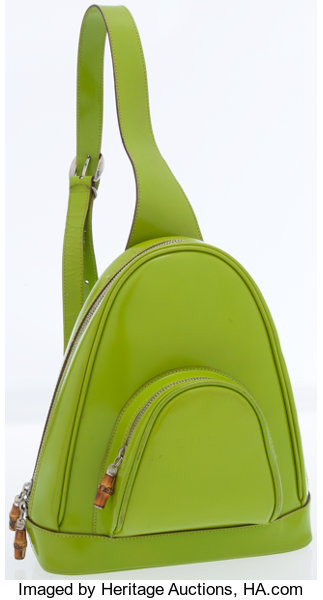 d640889e6e96bf Luxury Accessories:Bags, Gucci Lime Green Leather Backpack with Silver  & BambooHardware.