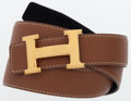 Luxury Accessories:Accessories, Hermes 80cm Gold Clemence Leather & Black Calf Box LeatherReversible Constance H Belt with Gold Hardware. ...