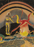 Pulp, Pulp-like, Digests, and Paperback Art, FRANK R. PAUL (American, 1884-1963). Life on Saturn, FantasticAdventures pulp digest back cover, November 1939. Pen, in...