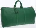 Luxury Accessories:Bags, Louis Vuitton Green Epi Leather Keepall 55 Weekender Overnight Bag....