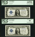 Small Size:Silver Certificates, Fr. 1604/Fr. 1602 $1 1928D/1928B Silver Certificates. Reverse Changeover Pair. PCGS Very Choice New 64PPQ-Choice About New 58.... (Total: 2 notes)