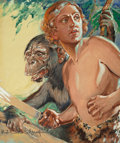Pulp, Pulp-like, Digests, and Paperback Art, ROBERT A. GRAEF (American, 1878-1951). Jan of the Jungle, ArgosyWeekly magazine cover, April 18, 1931. Watercolor and g...