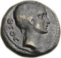 Ancients:Roman Provincial , Ancients: MACEDON. Thessalonica. Octavian and Divus Julius Caesar(28/7 BC). Æ 20mm (7.77 gm, 6h). ...