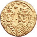 Ancients:Byzantine, Ancients: Constantine VI and Irene (AD 780-797). AV solidus (20mm, 4.30 gm, 6h)....