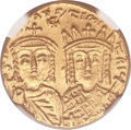 Ancients:Byzantine, Ancients: Constantine VI and Irene (AD 780-797). AV solidus (20mm, 4.43 gm, 6h)....