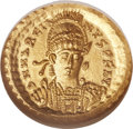 Ancients:Roman Imperial, Ancients: Marcian, Eastern Roman Emperor (AD 450-457). AV solidus (20mm, -- gm, 6h)....