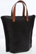 Luxury Accessories:Bags, Bottega Veneta Black Intrecciato Nappa Woven Leather Tote Bag withBrown Handles. ...