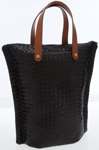 Bottega Veneta Black Intrecciato Nappa Woven Leather Tote Bag with Brown Handles