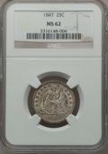 Seated Quarters, 1847 25C MS62 NGC....