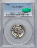 Buffalo Nickels, 1937 5C MS67+ PCGS. CAC....