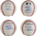Baseball Collectibles:Balls, 2000's New York Yankees Rookies of the Year Shortstops Multi Signed Baseball Lot of 4. ...