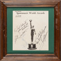 Basketball Collectibles:Programs, 1969 Sportsmen's World Awards Signed Program With Lew Alcindor& Jesse Owens. ...