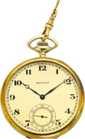 "Timepieces:Pocket (post 1900), Waltham 14k Gold Riverside ""A"", Gold Chain, Pencil & KeyHolder, circa 1915. ..."