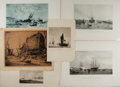 """Books:Prints & Leaves, [Nautical Illustrations] Lot of Six Antique Lithographs of Ships.Various sizes from 7.5"""" x 11"""" to 17"""" x 12"""". Moderate tonin..."""