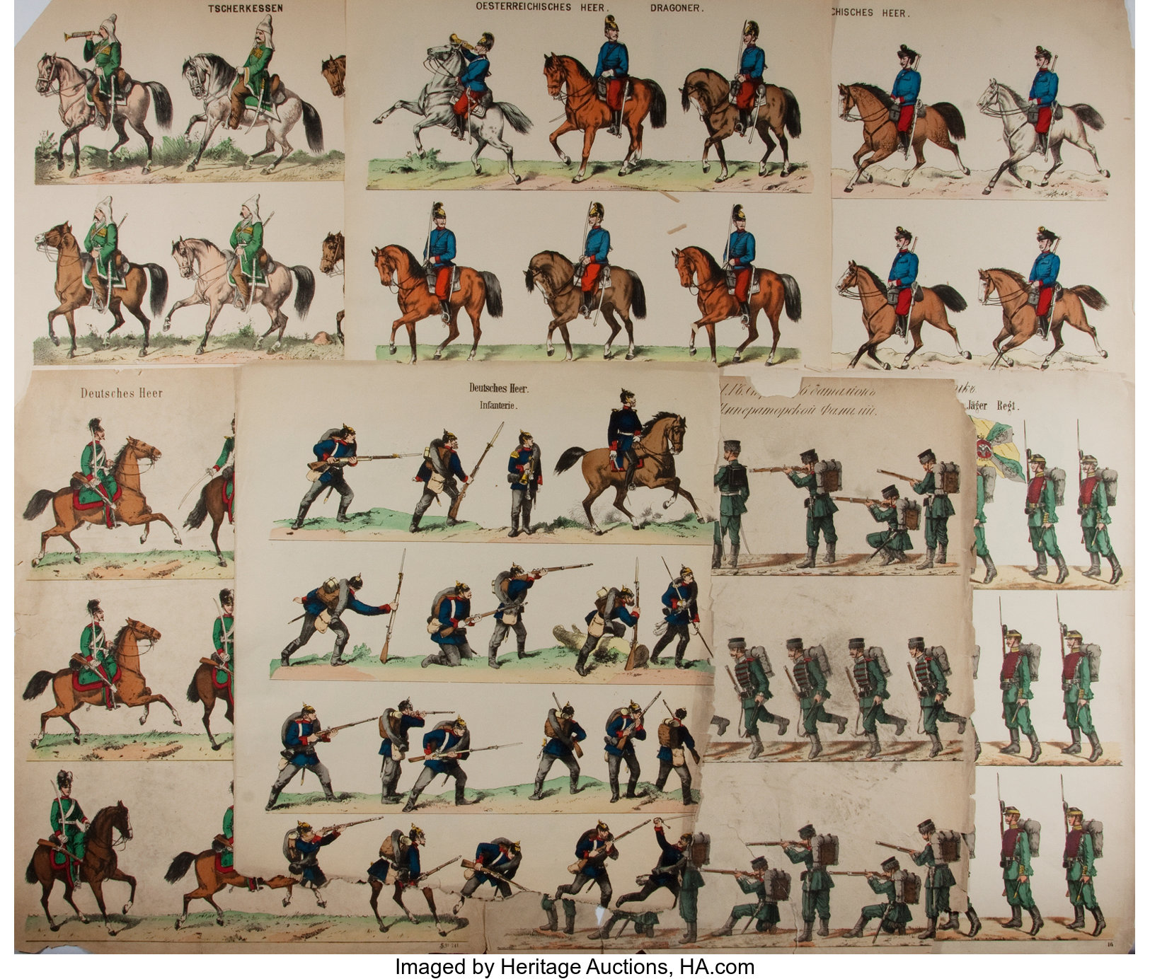 Lot Of Seven Hand Colored Lithographs