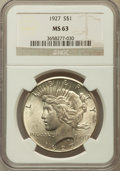 Peace Dollars: , 1927 $1 MS63 NGC. NGC Census: (1551/1087). PCGS Population(2327/2002). Mintage: 848,000. Numismedia Wsl. Price for problem...