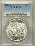 Peace Dollars: , 1926-S $1 MS62 PCGS. PCGS Population (981/4999). NGC Census:(719/3677). Mintage: 6,980,000. Numismedia Wsl. Price for prob...