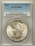 Peace Dollars: , 1927 $1 MS63 PCGS. PCGS Population (2327/2002). NGC Census:(1551/1087). Mintage: 848,000. Numismedia Wsl. Price for proble...