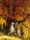 Mainstream Illustration, WILLIAM GEORGE (American, b. 1930). Men on Horseback in theWoods, paperback cover. Oil on canvas. 16 x 12 in.. Signed l...