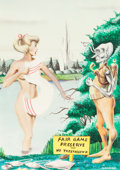 Pulp, Pulp-like, Digests, and Paperback Art, PAUL BLAISDELL (American, 1930-1983). Fair Game Preserve, OtherWords Science Stories magazine cover, September 1956. Wa...