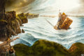 Pulp, Pulp-like, Digests, and Paperback Art, JOHN HOWE (Canadian/Swiss, b. 1957). Battle at Sea, Dwarfs (TheEnchanted World Series), interior story illustration, 19...